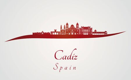 cadiz: Cadiz skyline in red and gray background in editable vector file