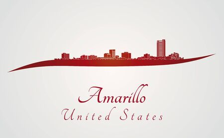 Amarillo skyline in red and gray background in editable vector file Illustration