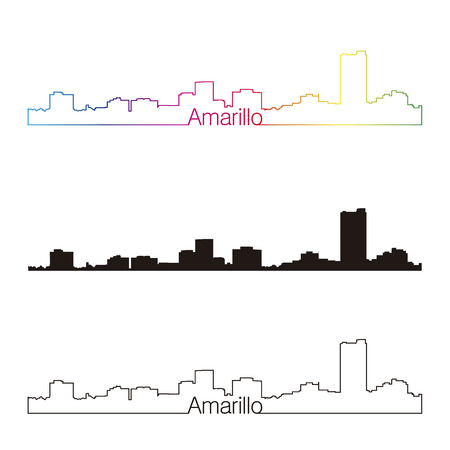 Amarillo skyline linear style with rainbow in editable vector file Illustration