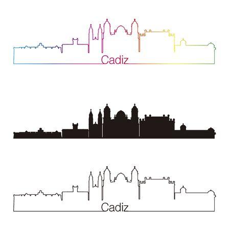 cadiz: Cadiz skyline linear style with rainbow in editable vector file Illustration