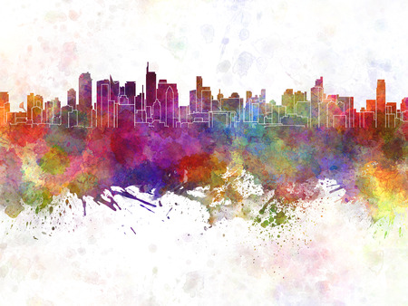 philippines: Makati skyline in watercolor background Stock Photo