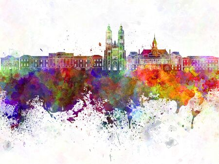 tours: Tours skyline in watercolor background Stock Photo