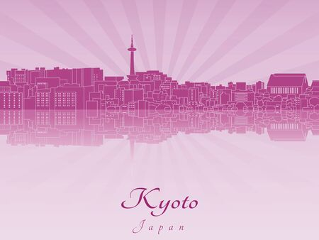 radiant: Kyoto skyline in purple radiant orchid in editable vector file