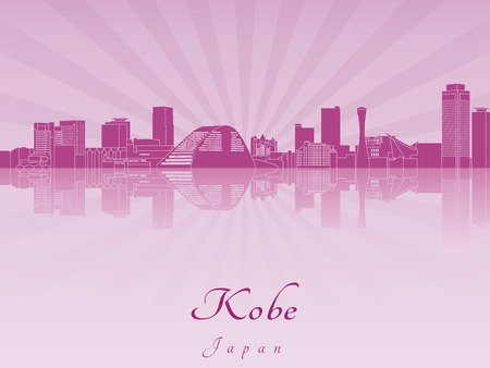 kobe: Kobe skyline in purple radiant orchid in editable vector file Illustration