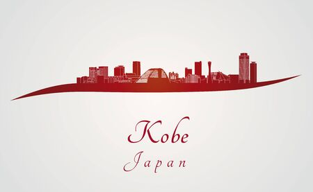 kobe: Kobe skyline in red and gray background in editable vector file