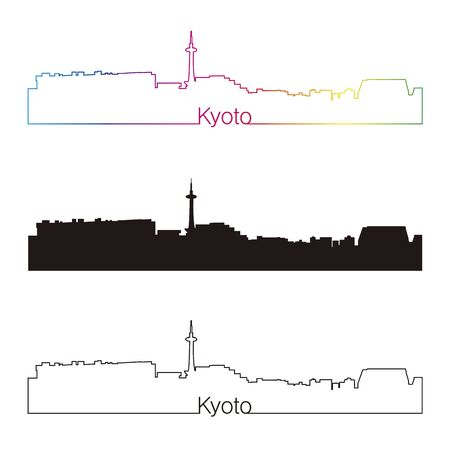kyoto: Kyoto skyline linear style with rainbow in editable vector file