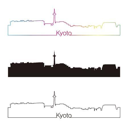 Kyoto skyline linear style with rainbow in editable vector file