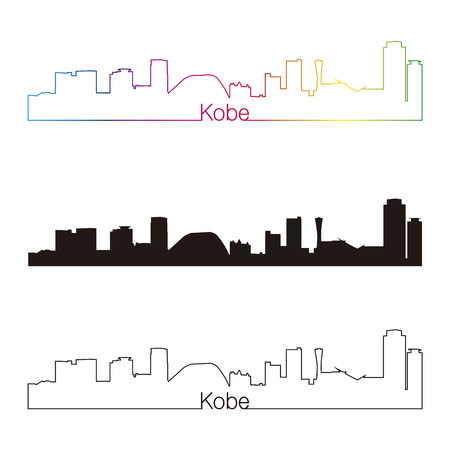 kobe: Kobe skyline linear style with rainbow in editable vector file Illustration
