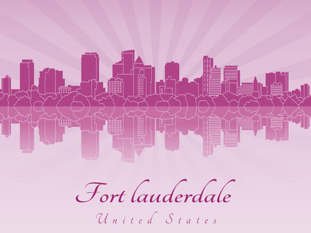 Fort Lauderdale skyline in purple radiant orchid in editable vector file