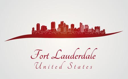 編集可能なベクトル ファイルの赤と灰色の背景でフォート ローダーデール スカイライン