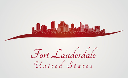Fort Lauderdale skyline in red and gray background in editable vector file