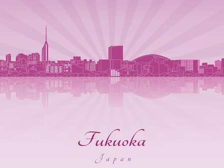 radiant: Fukuoka skyline in purple radiant orchid in editable vector file