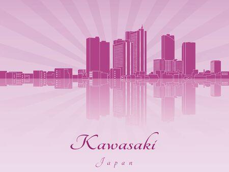 radiant: Kawasaki skyline in purple radiant orchid in editable vector file