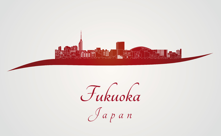 Fukuoka skyline in red and gray background in editable vector file