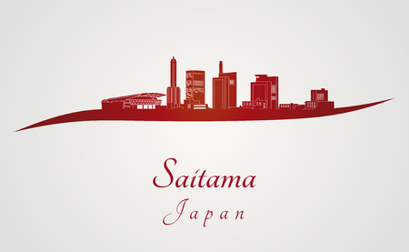 Saitama skyline in red and gray background in editable vector file