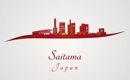 Saitama skyline in rode en grijze achtergrond in bewerkbare vector-bestand