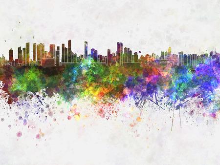 belem: Belem skyline in watercolor background