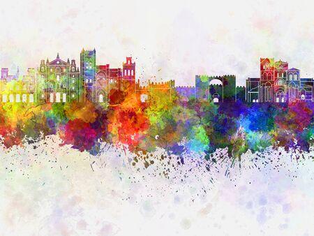 avila: Avila skyline in watercolor background
