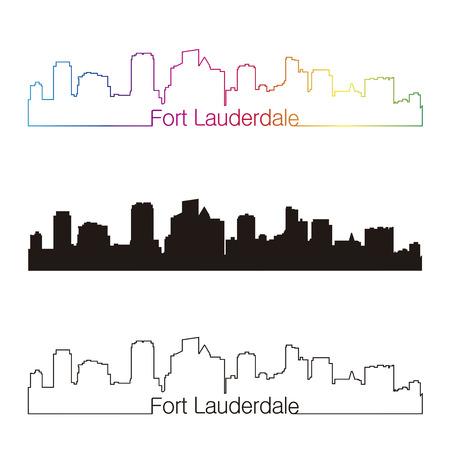 編集可能なベクトル ファイルで虹とフォート ローダーデール スカイライン線形スタイル