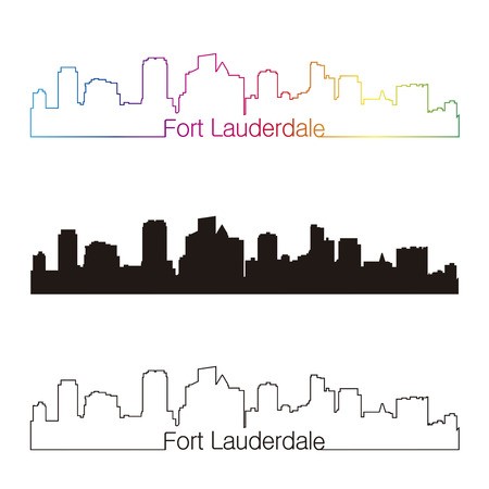 Fort Lauderdale skyline linear style with rainbow in editable vector file Illustration