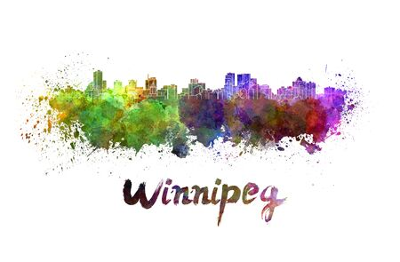 manitoba: Winnipeg skyline in watercolor splatters with clipping path Stock Photo