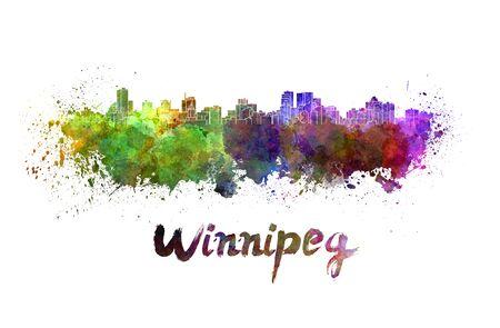 winnipeg: Winnipeg skyline in watercolor splatters with clipping path Stock Photo