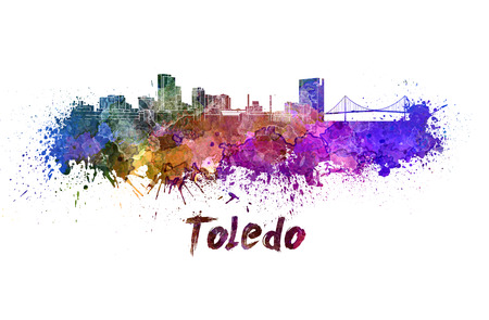 Toledo skyline in watercolor splatters with clipping path Stock Photo