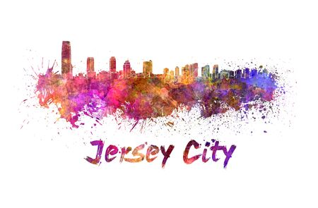 jersey: Jersey City skyline in watercolor splatters with clipping path