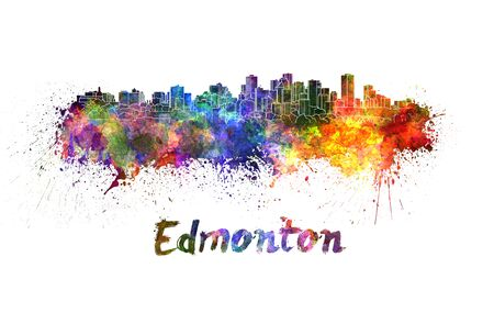 edmonton: Edmonton skyline in watercolor splatters with clipping path