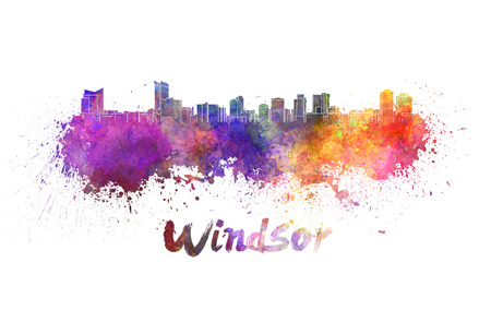 windsor: Windsor skyline in watercolor splatters with clipping path Stock Photo