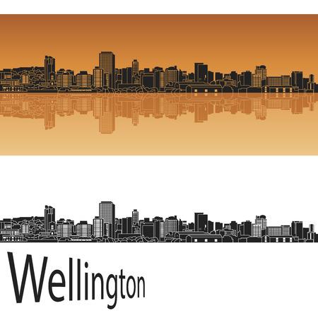 wellington: Wellington skyline in orange background in editable vector file