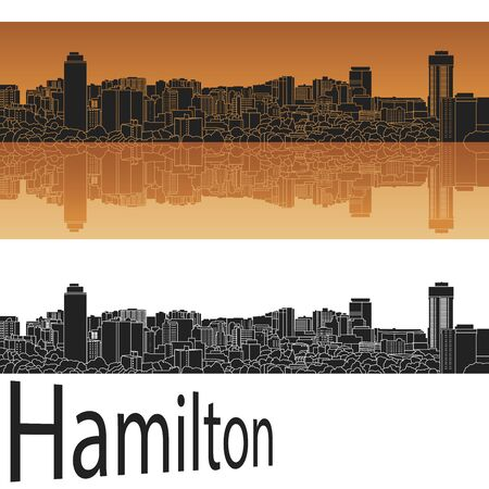 hamilton: Hamilton skyline in orange background in editable vector file Illustration