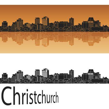 christchurch: Christchurch skyline in orange background in editable vector file