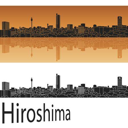 hiroshima: Hiroshima skyline in orange background in editable vector file Illustration