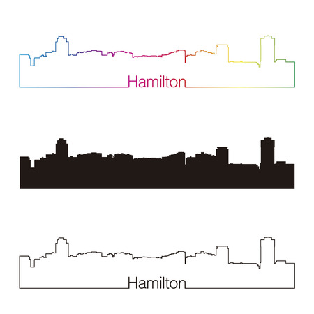 ontario: Hamilton skyline linear style with rainbow in editable vector file