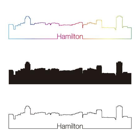 hamilton: Hamilton skyline linear style with rainbow in editable vector file