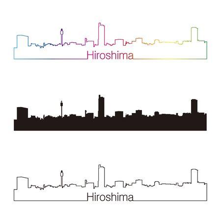 hiroshima: Hiroshima skyline linear style with rainbow in editable vector file Illustration