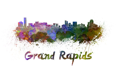 grand rapids: Grand Rapids skyline in watercolor splatters with clipping path