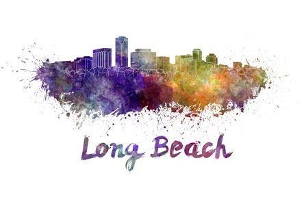 panoramic beach: Long Beach skyline in watercolor splatters with clipping path Stock Photo