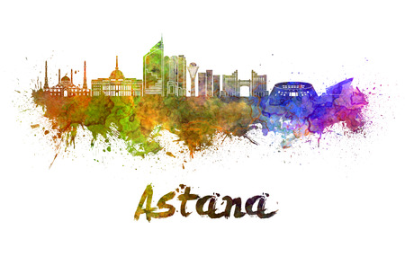 kazakhstan: Astana skyline in watercolor splatters with clipping path Stock Photo