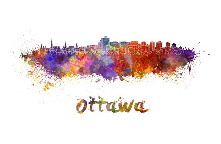ottawa: Ottawa skyline in watercolor splatters with clipping path