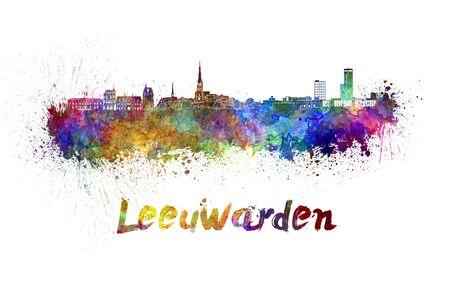 leeuwarden: Leeuwarden skyline in watercolor splatters with clipping path Stock Photo