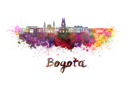 Bogota skyline in watercolor splatters with clipping path