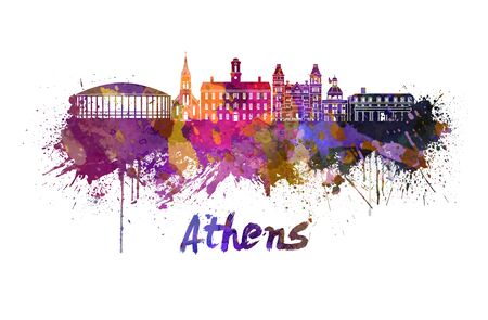 Athens OH skyline in watercolor splatters with clipping path 版權商用圖片