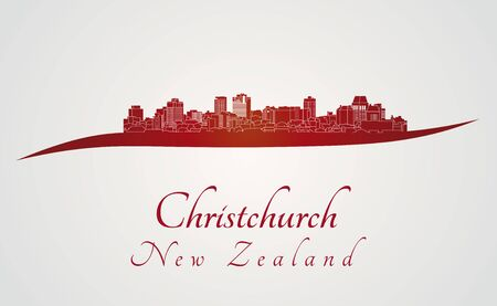 new zealand landscape: Christchurch skyline in red and gray background in editable vector file Illustration