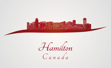 hamilton: Hamilton skyline in red and gray background in editable vector file