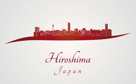 Hiroshima skyline in rode en grijze achtergrond in bewerkbare vector-bestand