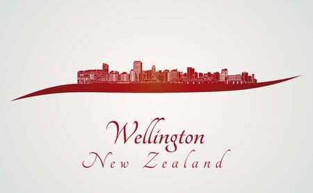 new zealand landscape: Wellington skyline in red and gray background in editable vector file