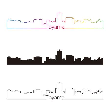 Toyama skyline linear style with rainbow in editable vector file