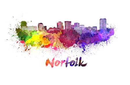 virginia: Norfolk skyline in watercolor splatters with clipping path Stock Photo